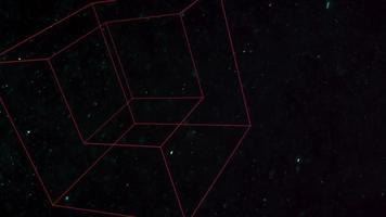 cubes géométriques de mouvement avec des particules dans l'espace, fond sombre noir abstrait video