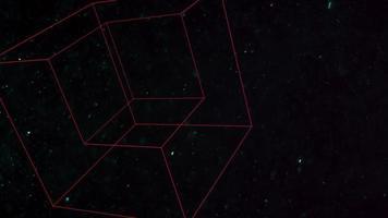 cubos geométricos de movimento com partículas no espaço, fundo escuro preto abstrato video