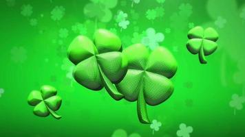 Animationsbewegung kleine grüne Kleeblätter auf dem glänzenden Hintergrund des Heiligen Patrick-Tages video