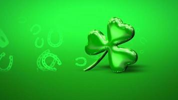 Animation Nahaufnahme Bewegung großes grünes Kleeblatt auf Saint Patrick Day glänzenden Hintergrund video