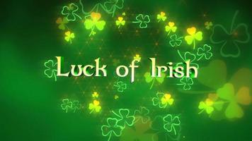 animação closeup sorte de texto irlandês e movimento trevos verdes com brilhos no fundo brilhante do dia de São Patrício video