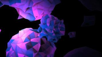 animatie abstracte paarse vloeibare bol in kosmos, zwarte achtergrond video