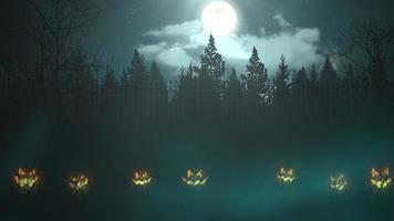 animação de fundo de halloween com a floresta e abóboras, pano de fundo abstrato video