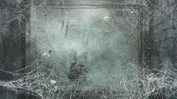 mystieke horror achtergrond met donker spinnenweb en bewegingscamera