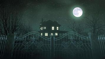 fond d'horreur mystique avec la maison et la lune, toile de fond abstraite