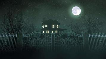 mystisk skräckbakgrund med huset och månen, abstrakt bakgrund video