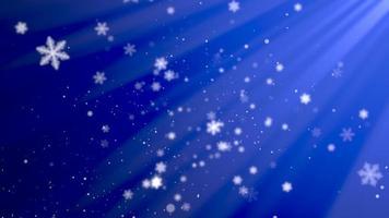 abstracte blauwe bokeh en sneeuwvlok vallen. gelukkig nieuwjaar en merry christmas glanzende achtergrond video