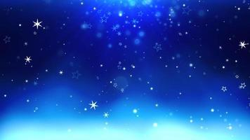 bokeh bleu abstrait et flocon de neige tombant. bonne année et joyeux noël fond brillant video
