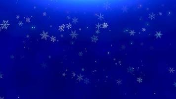 flocos de neve brancos, estrelas e partículas de bokeh abstrato caindo. feliz Ano Novo e feliz Natal video