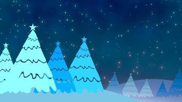 julgran och vita snöflingor, stjärnor som faller. gott nytt år och glänsande god jul video
