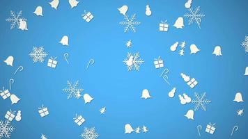 flocons de neige blancs, cloches, bonhomme de neige et mouvement aléatoire de cadeau. bonne année et joyeux noël abstrait video