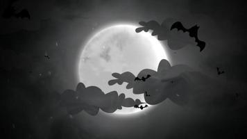 animación de fondo de halloween con los murciélagos y la luna