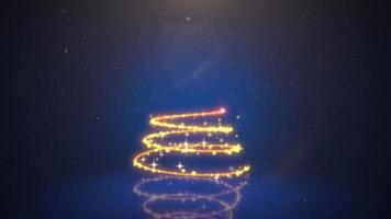 árbol de navidad de primer plano animado sobre fondo azul oscuro video