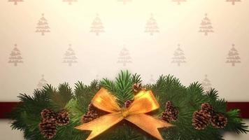 Branches d'arbres verts de Noël gros plan animé sur boîte-cadeau video