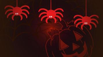 Halloween animation with the spiders and pumpkin on red background