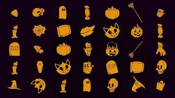 halloween bakgrundsanimering med pumpor, skalle, kistor, spöken video