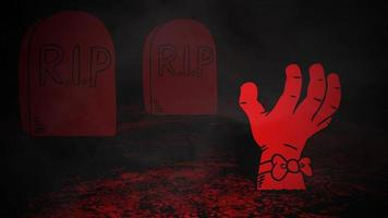animação de fundo de halloween com a mão no cemitério