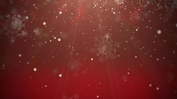 flocon de neige blanc tombant. bonne année et joyeux noël fond brillant video