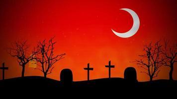 halloween bakgrundsanimering med spöken på kyrkogården video