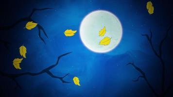 halloween bakgrundsanimering med bladen och månen video
