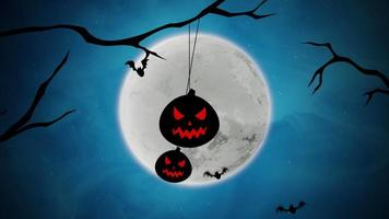 halloween bakgrundsanimering med fladdermöss och pumpor på träd