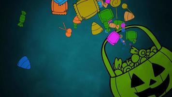 animação de fundo de halloween com a cesta de doces