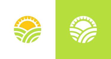 natural and organic farming land logo with sun shine element, simple environmental logo