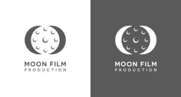 Creative moon film logo, rolling film icon in moon silhouette logo vector template