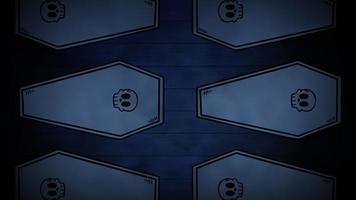 Animación de fondo de halloween con ataúdes de movimiento. video