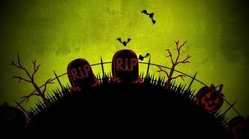 halloween-achtergrondanimatie met de doodskisten, pompoenen, bomen, vleermuizen, schedels