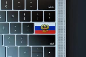 2018-- Illustrative editorial of Flag of Russia over computer keyboard