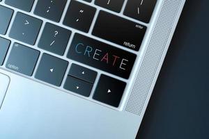 crear clave en la computadora portátil, concepto de tecnología foto