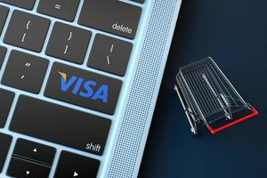 2018-- Illustrative editorial of VISA logo over computer keyboard