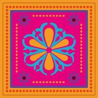 mexican flower in a colorful frame vector