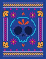 mexican skull in a colorful frame vector