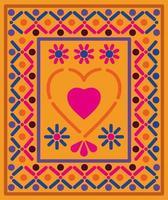 corazón mexicano en un marco colorido vector