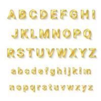 alfabeto dorado de la a a la z con mayúsculas y minúsculas