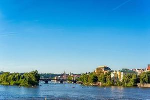 Czech Republic 2017--View of Charles Bridge and Prague cityscape with boaters