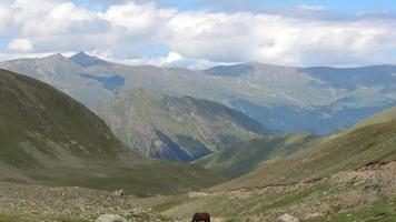 Sehen Sie Berge Szenen im Nationalpark Dombai, Kaukasus, Russland, Europa