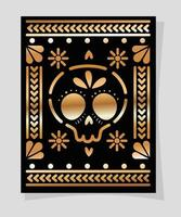 mexican gold and black skull in frame vector design