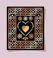 Corazón mexicano de oro y negro en diseño vectorial de marco vector