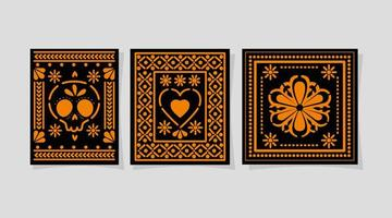 Mexican skull heart and flower in frames vector design