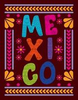Mexico lettering with colorful frame vector