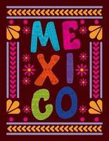 letras de mexico con marco colorido vector