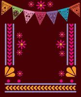 banderín mexicano con diseño de vector de marco
