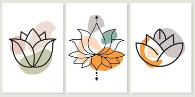 Abstract boho art background, cover or wall art with hand-drawn lotus vector
