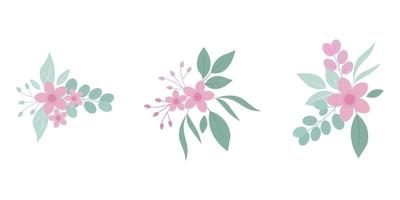 Set of flat bouquet flowers vector