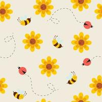 Seamless pattern with cute bees, ladybug, and flowers vector
