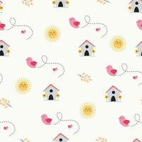 Seamless pattern with cute birds, birdhouse, and sun vector