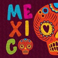 Mexico lettering with sugar skull vector design